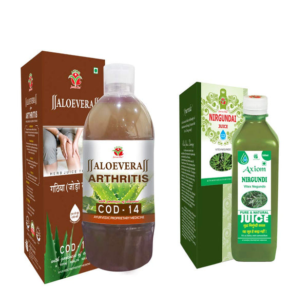 Axiom Artho Care Combo of Cod-14 1 Ltr & Nirgundi Juice 500 ml | 100% Natural Herbal juices | WHO-GLP,GMP,ISO Certified Product