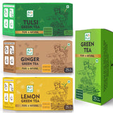 Alo Frut Green Tea Combo Pack of Green Tea , Tulsi Green Tea , Ginger Green Tea, Lemon Green Tea | 25 pouch X 4 | Family Pack | Pure & Natural | No Added Colour | No Added Sugar