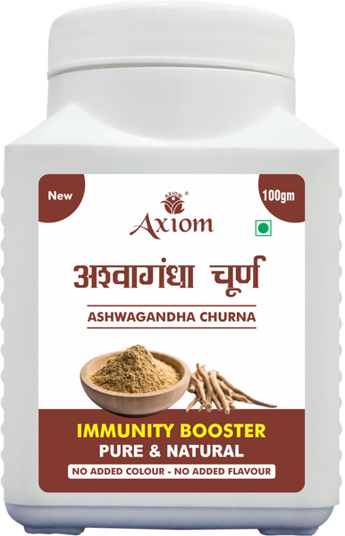 Axiom Ashwagandha  Churna 100 gm | Healthy & Immunity Builder | Antioxidant Properties | Reduce Stress & Anxiety | 100% Natural WHO GMP GLP Certified Product