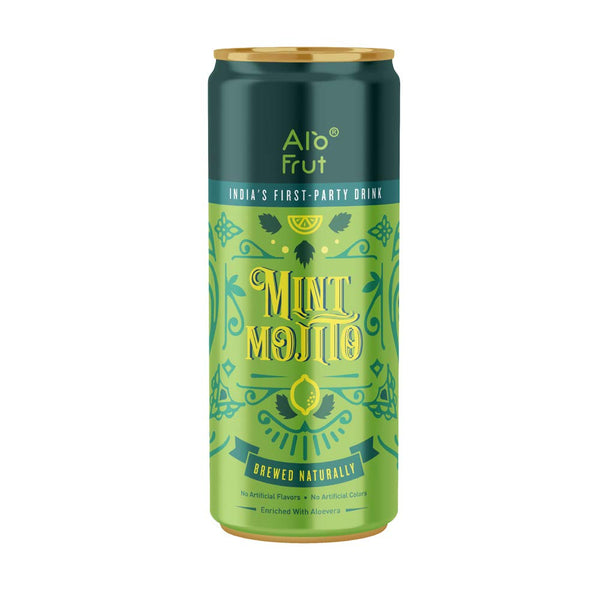 Alo Frut Mint Mojito 250 ml Pack of 12 | India's First Party Drink | Taste The Natural Fizz | Brewed Naturally | Enriched With Aloevera | No Artificial Colours | No Artificial Flavors