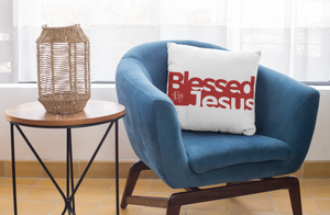 Blessed by Jesus - Square Pillow