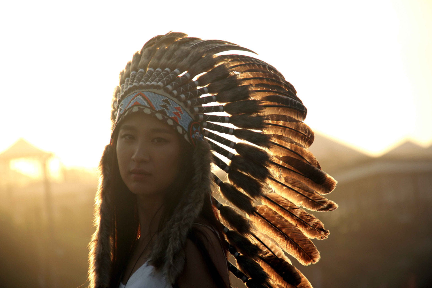 Long Brown Indian Headdress Replica made with natural turkey feathers and beaded band Hat Headdresses