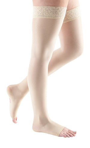 mediven sheer & soft, 20-30 mmHg, Thigh High w/ Lace Top-Band, Open Toe