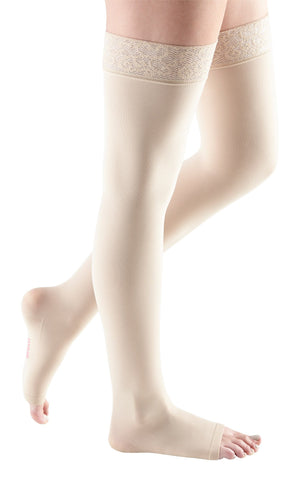 mediven comfort, 30-40 mmHg, Thigh High w/ Lace Top-Band, Open Toe