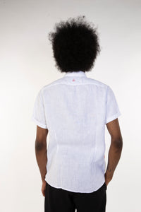 WHITE LINEN POCKET SHIRT
