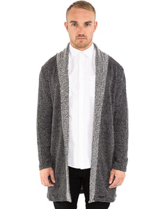 GREY LONGLINE OPEN CARDIGAN