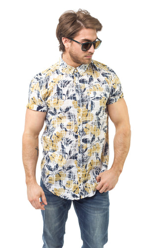 YELLOW & BLUE FLORAL SS SHIRT