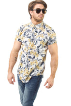 Load image into Gallery viewer, YELLOW & BLUE FLORAL SS SHIRT