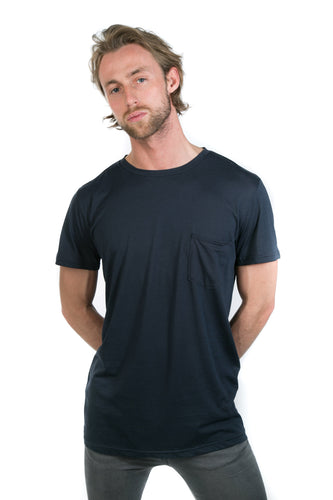 NAVY DRAPED POCKET TEE