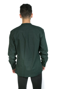 GREEN MANDARIN COLLAR SHIRT