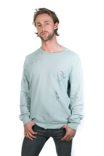 LIGHT BLUE DISTRESSED SWEATER