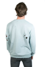 Load image into Gallery viewer, LIGHT BLUE DISTRESSED SWEATER