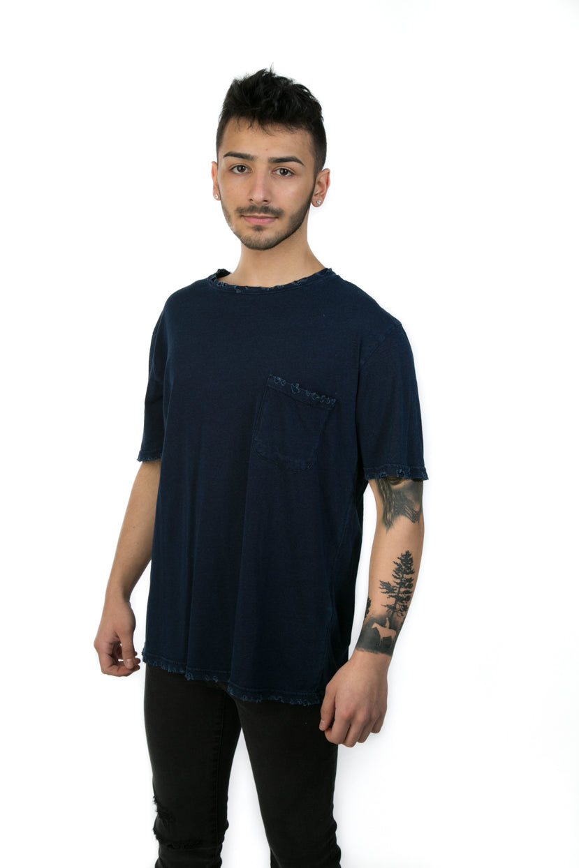 INDIGO DISTRESSED DENIM TEE