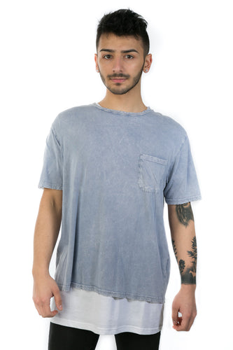 BLUE DISTRESSED LONGLINE TEE