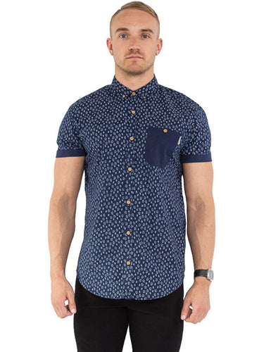 NAVY PAISLEY SHORT SLEEVE SHIRT