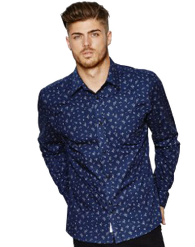 NAVY GEOMETRIC PRINT SHIRT