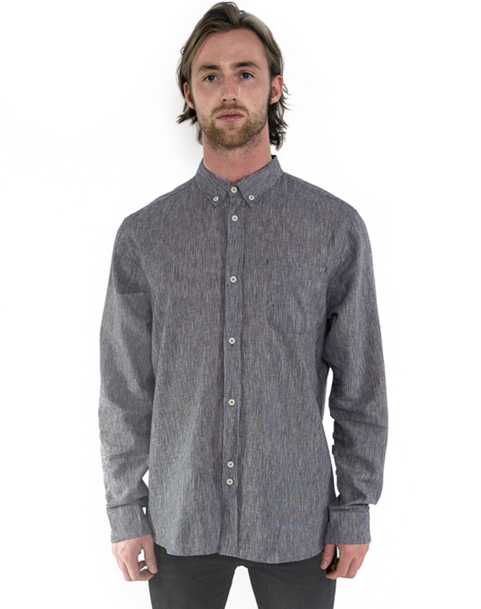 BLUE LINEN SPACE-DYE SHIRT