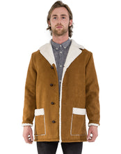 Load image into Gallery viewer, VEGAN LEATHER SHEARLING COAT