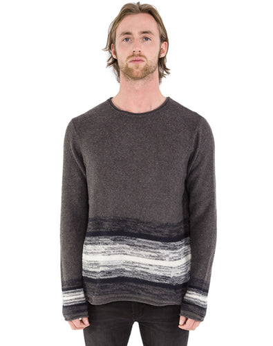 GREY OVERSIZED SPACE-DYE SWEATER