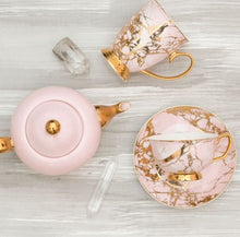 Load image into Gallery viewer, Tea Cup and Saucer Rose Quartz Cristina Re