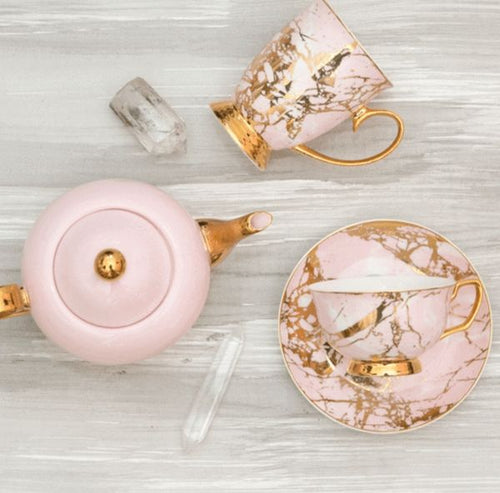 Tea Cup and Saucer Rose Quartz Cristina Re