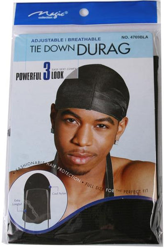 Magic Collection Tie Down Durag Black #4769BLA