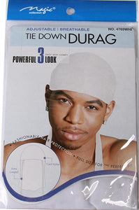 Magic Collection Tie Down Durag White #4769WHI