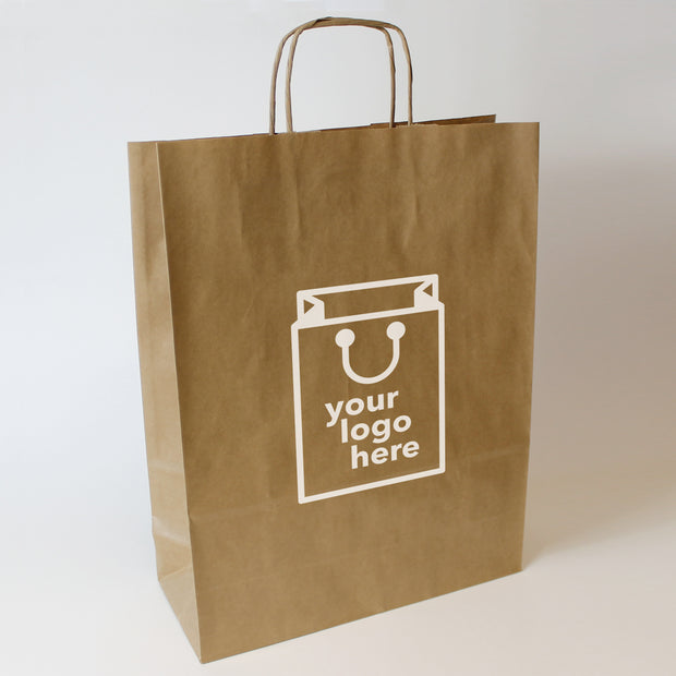Brown Twist Handle Paper Carrier Bag - Small - Print on Paper Bags