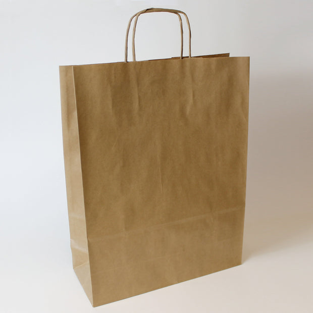 Brown Twist Handle Paper Carrier Bag - Plain - Large - Print on Paper Bags