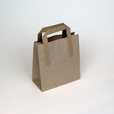 Small - Brown Tape Handle Paper Carrier Bag - Plain - Print on Paper Bags
