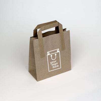 Brown Tape Handle Paper Carrier Bag - Small - Print on Paper Bags