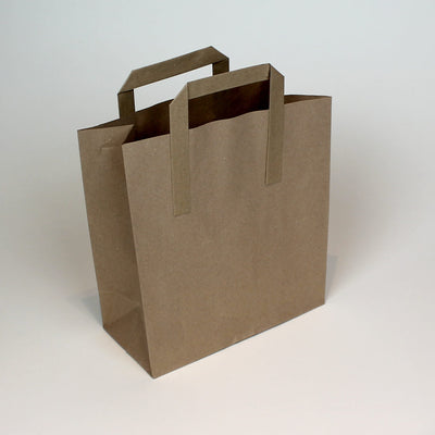 Medium - Brown Tape Handle Paper Carrier Bag -  Plain - Print on Paper Bags