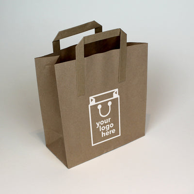 Brown Tape Handle Paper Carrier Bag - Medium - Print on Paper Bags