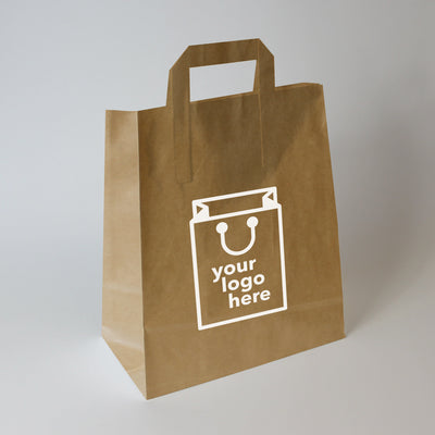 Brown Tape Handle Paper Carrier Bag - Large - Print on Paper Bags