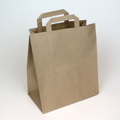 Large - Brown Tape Handle Paper Carrier Bag - Plain - Print on Paper Bags