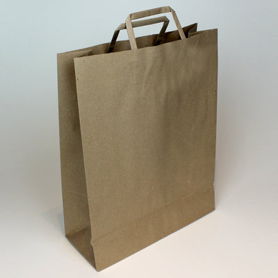 Extra Large - Brown Tape Handle Paper Carrier Bag - Plain - Print on Paper Bags