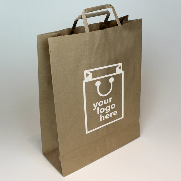 Brown Tape Handle Paper Carrier Bag - Extra Large - Print on Paper Bags