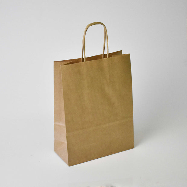 Brown Twist Handle Paper Carrier Bag - Extra Small - Plain - Print on Paper Bags