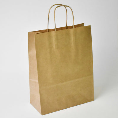 Brown Twist Handle Paper Carrier Bag - Small - Plain - Print on Paper Bags