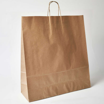 Brown Twist Handle Paper Carrier Bag - Extra Large - Plain - Print on Paper Bags
