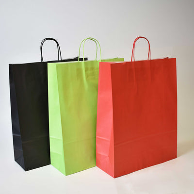 Coloured Twist Handle Paper Bags - Plain - 32 x 12 x 41 - Print on Paper Bags