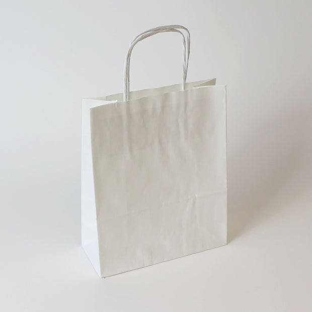 White Twist Handle Paper Carrier Bag - Accessory - Plain - Print on Paper Bags