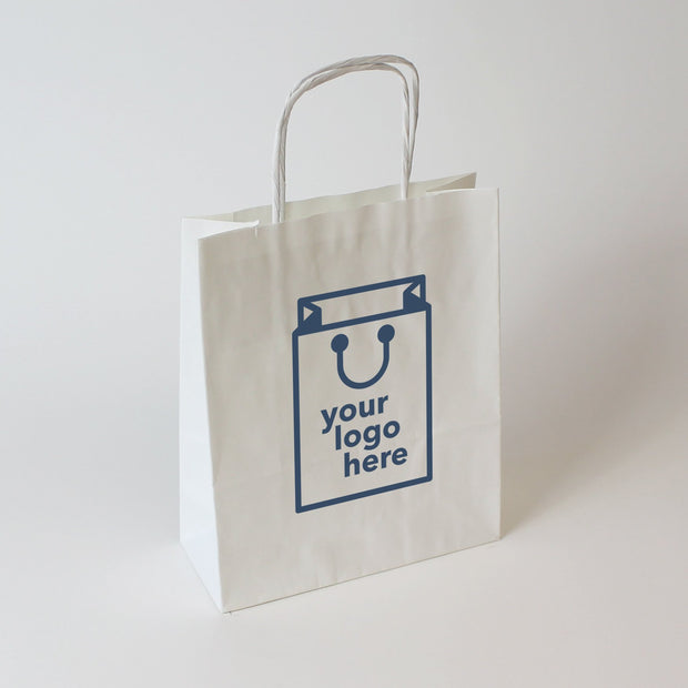 White Twist Handle Paper Carrier Bag - Extra Large - Custom Printed - Print on Paper Bags