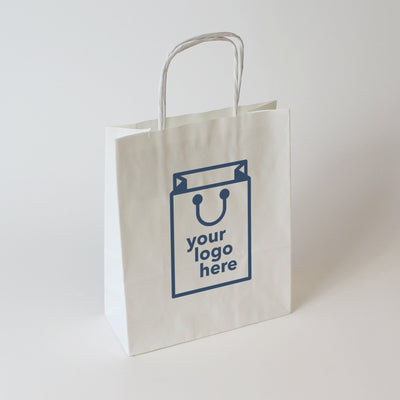 White Twist Handle Paper Carrier Bag - Medium - Print on Paper Bags