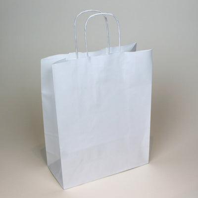 White Twist Handle Paper Carrier Bag - Small - Plain - Print on Paper Bags
