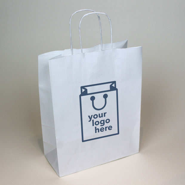 White Twist Handle Paper Carrier Bag - Small - Print on Paper Bags