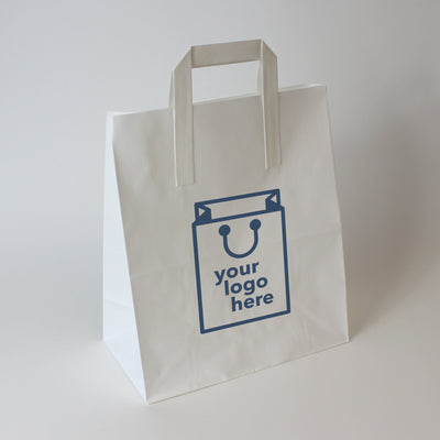 White Tape Handle Paper Carrier Bag - Medium - Print on Paper Bags