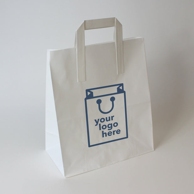 White Tape Handle Paper Carrier Bag - Large - Print on Paper Bags