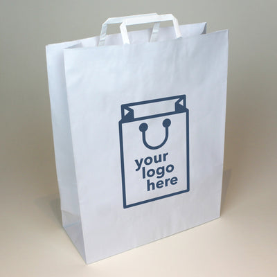 White Tape Handle Paper Carrier Bag - Extra Large - Print on Paper Bags