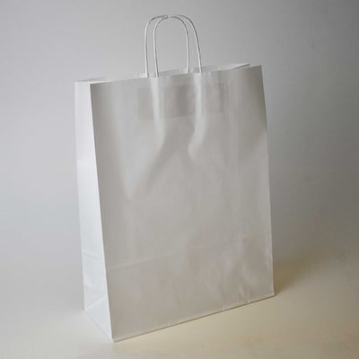 White Twist Handle Paper Carrier Bag - Large - Plain - Print on Paper Bags
